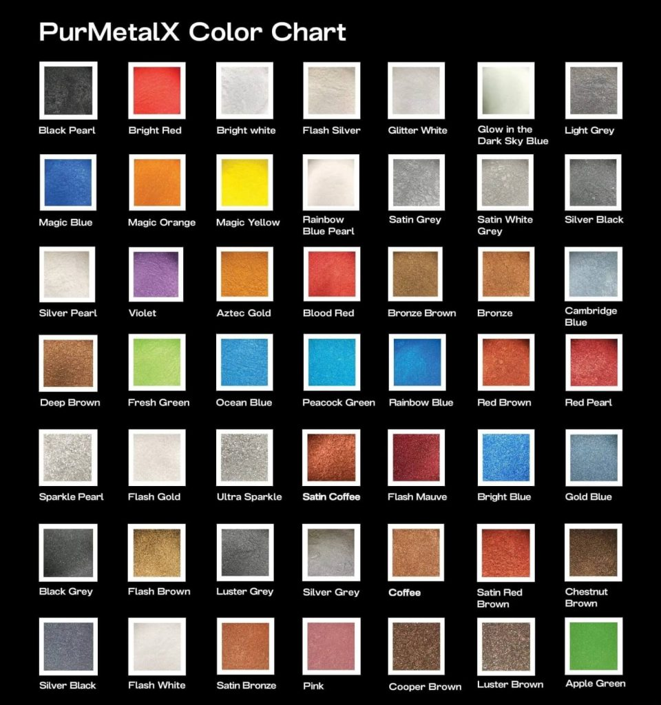 Liquid Floors USA Metallic Floor Color Chart